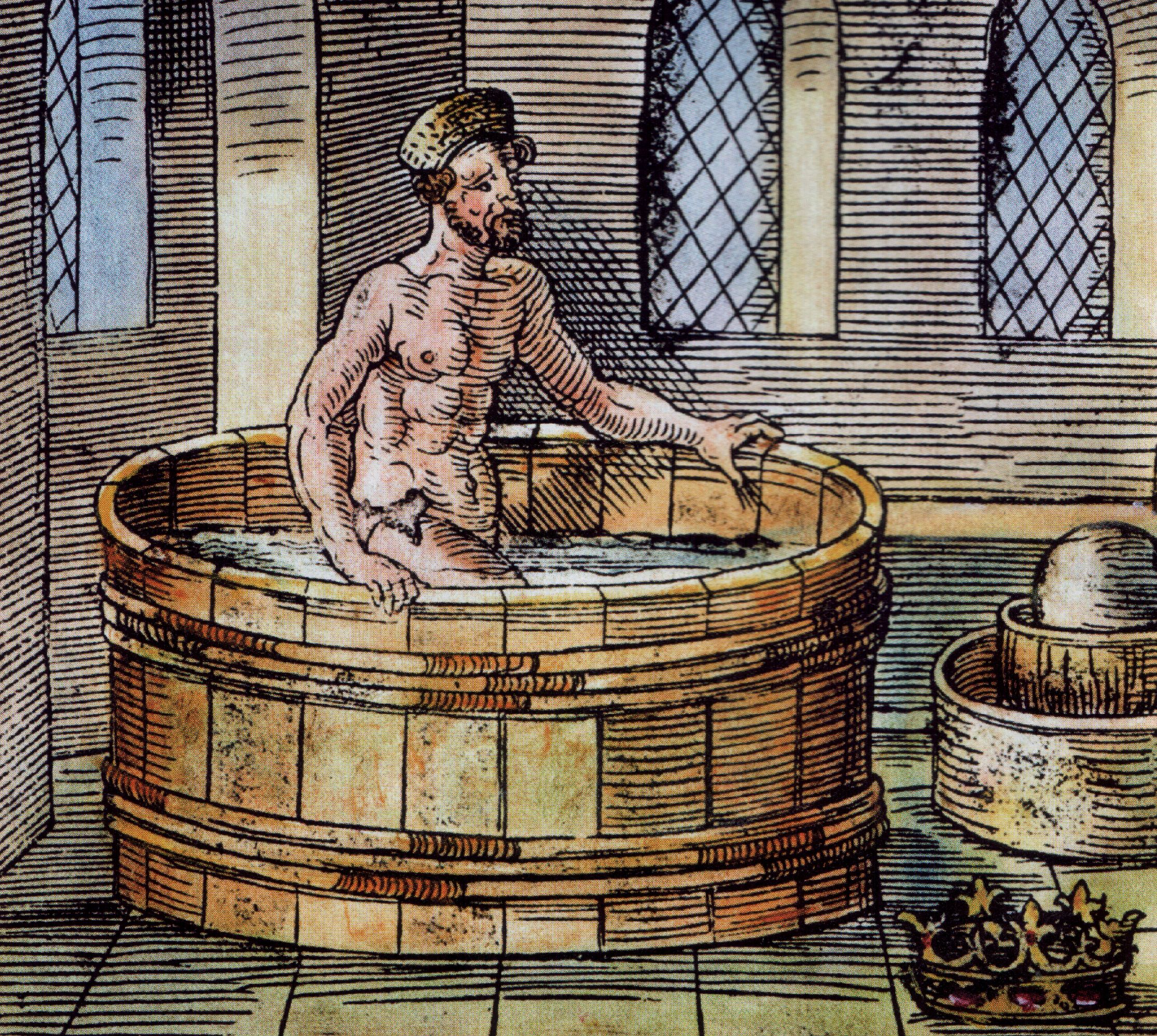 Archimede's discovering displacement, in a tub