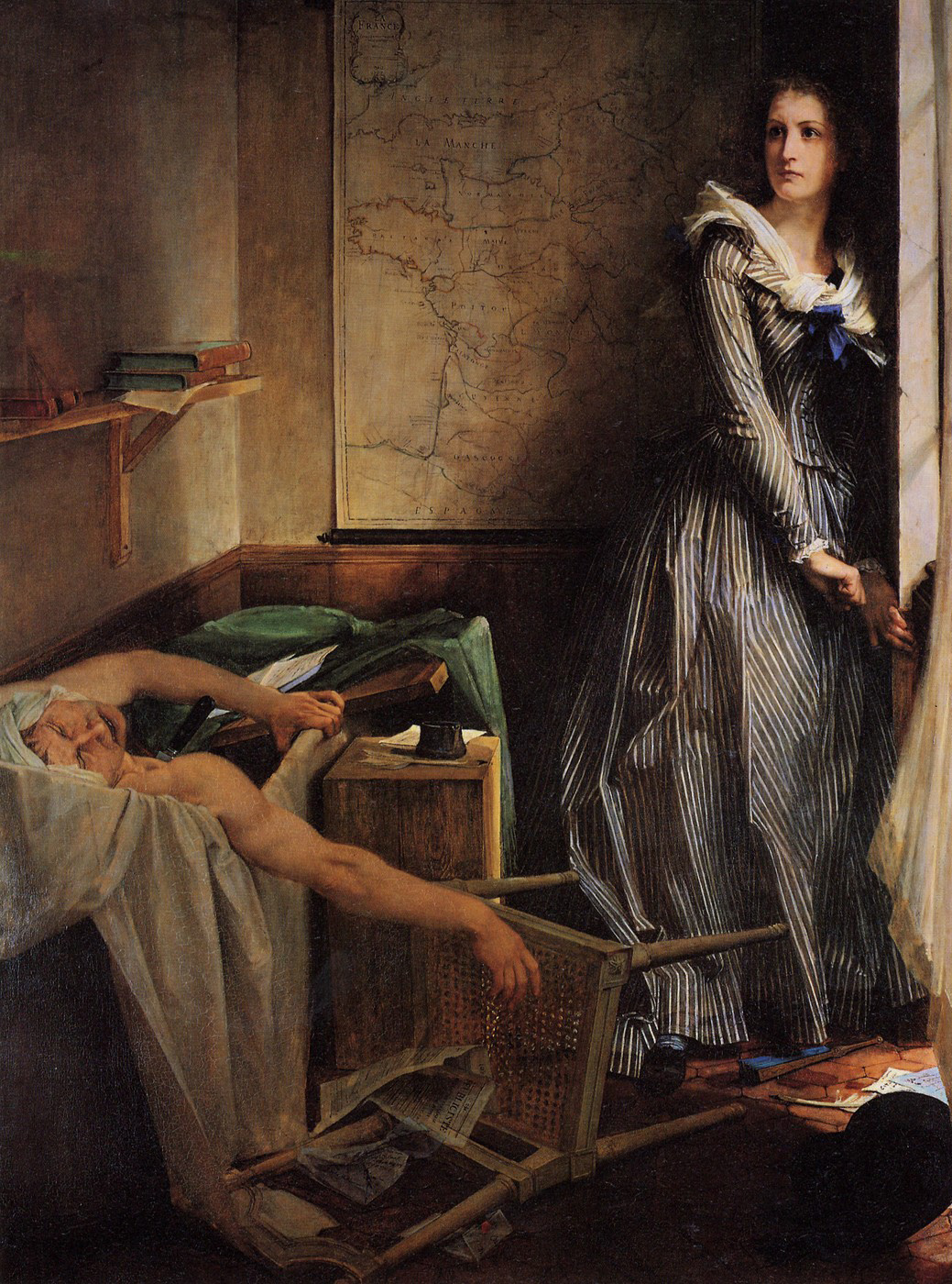 Jean-Paul Marat stabbed through the heart by Charlotte Corday in a bathtub (painted by Paul-Jacques-Aimé Baudry)