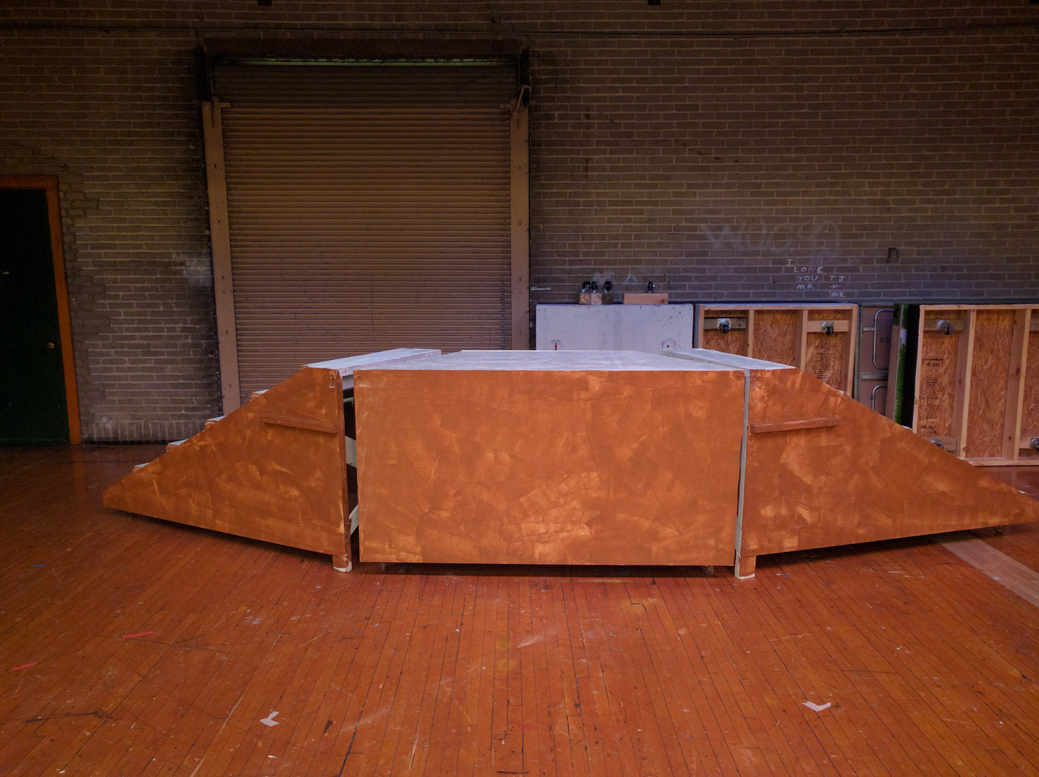 front view of set built for school play